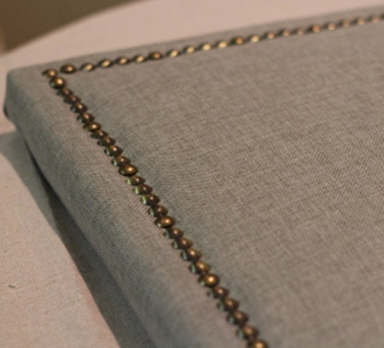 diy upholstered headboard with nailhead trim upcycledtreasures
