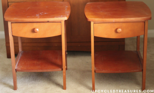 DIY Sunbleached Stain Nightstands - Looking for something beachy and outside the box, look no further! UpcycledTreasures.com
