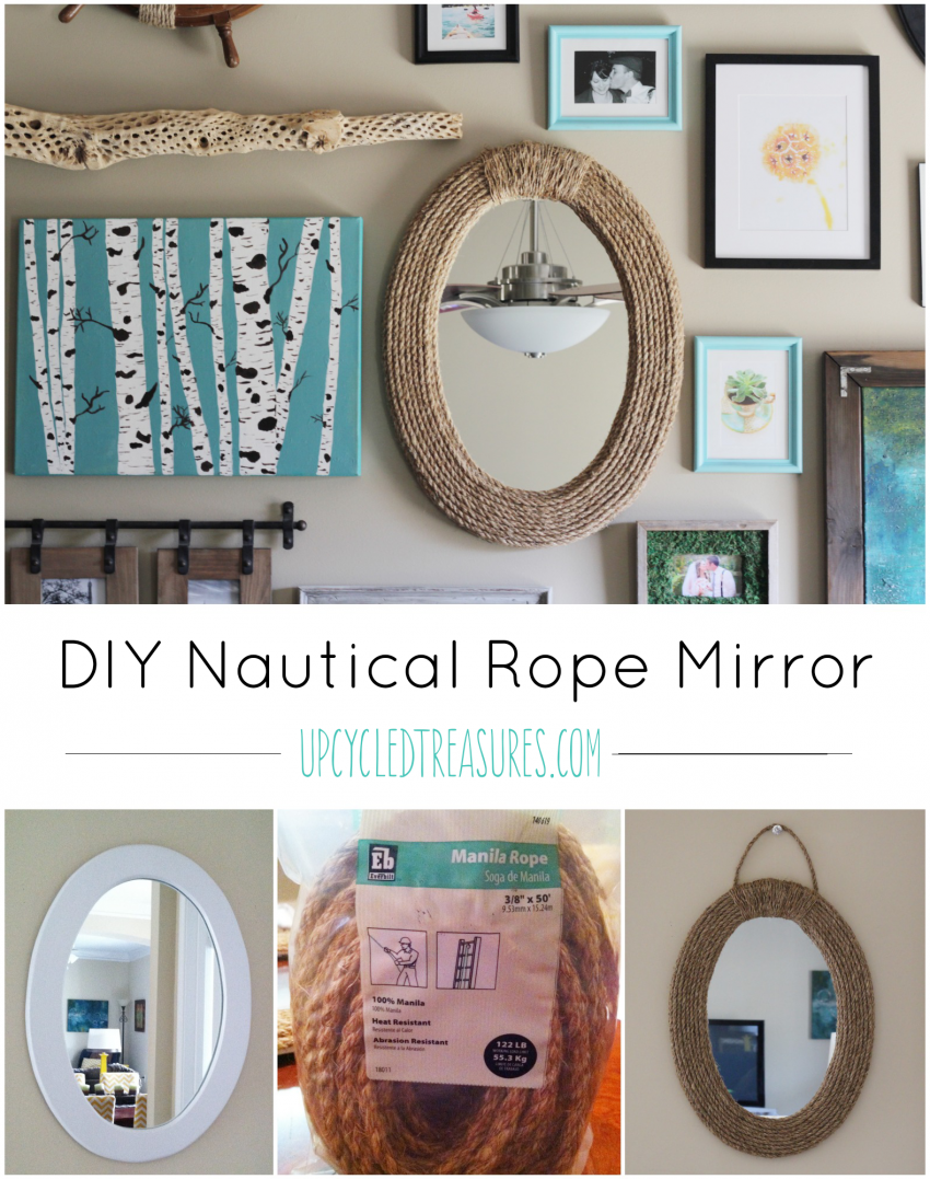 Looking to transform that old mirror? See how easy it is to transform it into a nautical rope mirror using rope! UpcycledTreasures.com