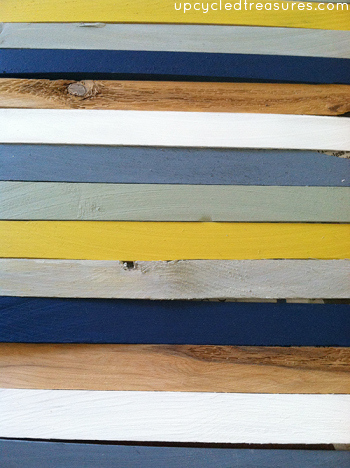 Love this idea! Paint wood shims different colors and then glue them down to create an interesting piece of wood shim artwork! upcycledtreasures.com