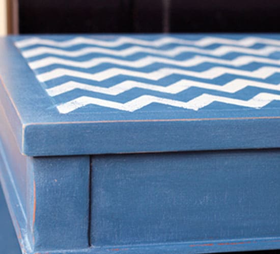Navy Side Table with Chevron Stenciled Top mountainmodernlife.com