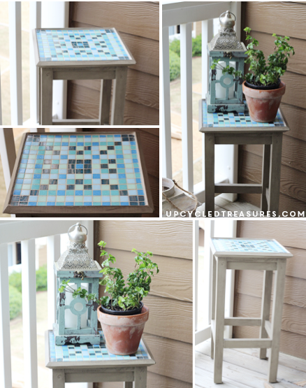 Take a look at this fantastic DIY Mosaic Table! A piece of furniture that would have been forgotten gains new life.