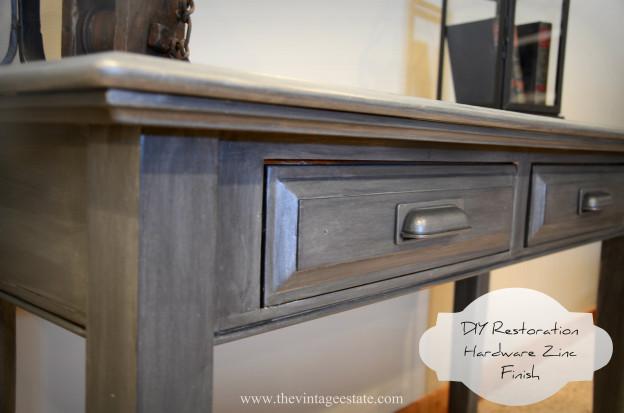 Restoration Hardware Inspired Zinc Finish Table   The Vintage Estate