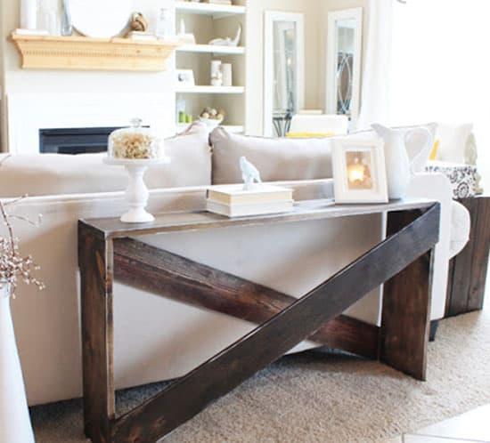 DIY X sofa table
