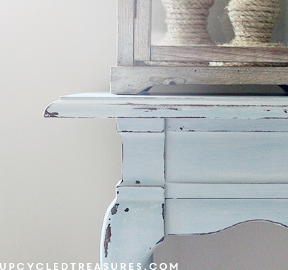 Beach Inspired Console Table - Check out the before and after photos of my beach inspired console/sofa table. UpcycledTreasures.com