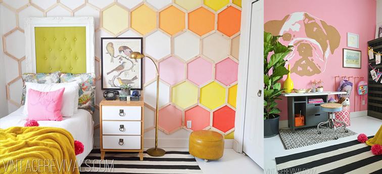7 Inspiring Summer Spaces bedroom-makeover-diy-hexagon-wall