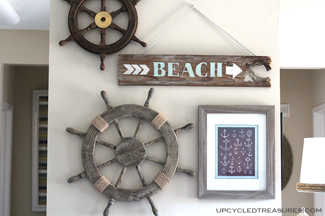 Want to add some spice to that old piece of wood you have lying around? Check out how to create a DIY Wood Beach Sign! UpcycledTreasures.com