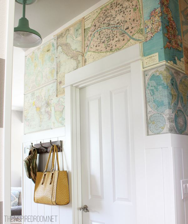 7 Inspiring Summer Spaces diy-map-wall-the-inspired-room