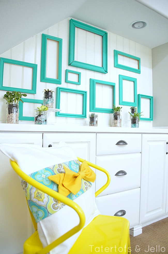 7 Inspiring Summer Spaces diy-wall-of-frames-mason-jar-succulents-tatertots-and-jello