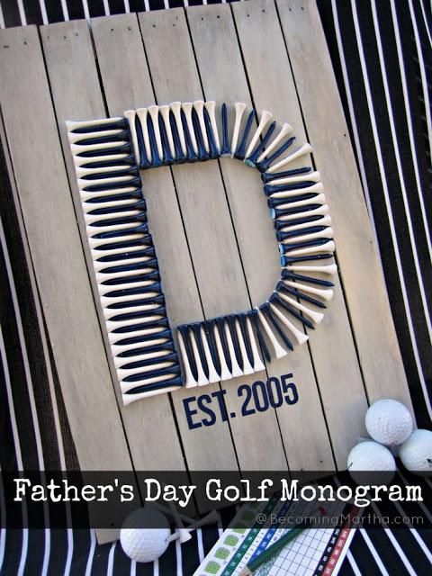 father's day golf tee monogram pallet art 2