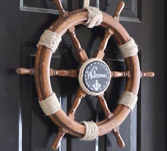 nautical ship helm wreath mountainmodernlife.com
