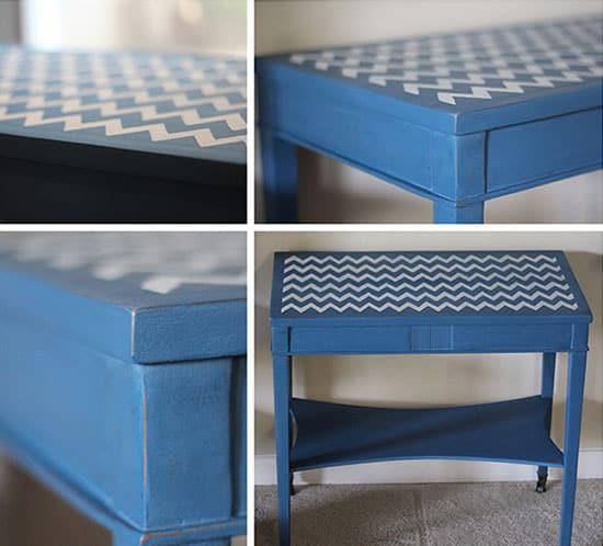 diy blue distressed chevron table mountainmodernlife.com