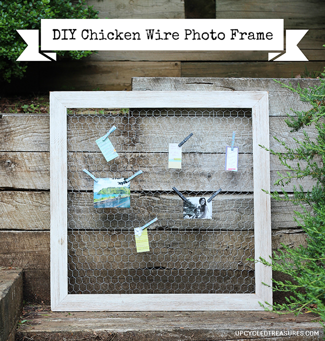 Looking for a creative way to display photos? Check out how easy it is to make this DIY Chicken Wire Photo Frame! UpcycledTreasures.com