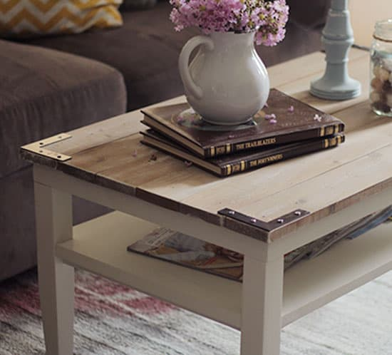 diy wood planked rustic chic coffee table mountainmodernlife.com