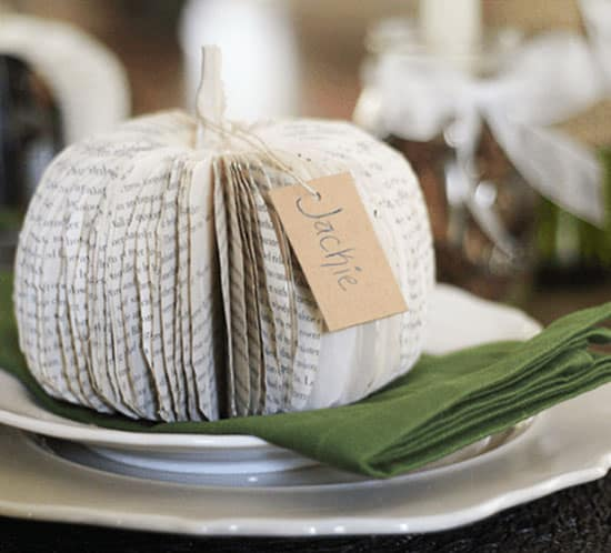 rustic and romantic fall tablescape with diy paperbook pumpkins mountainmodernlife.com