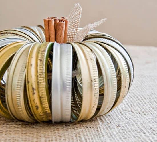 DIY canning ring pumpkin
