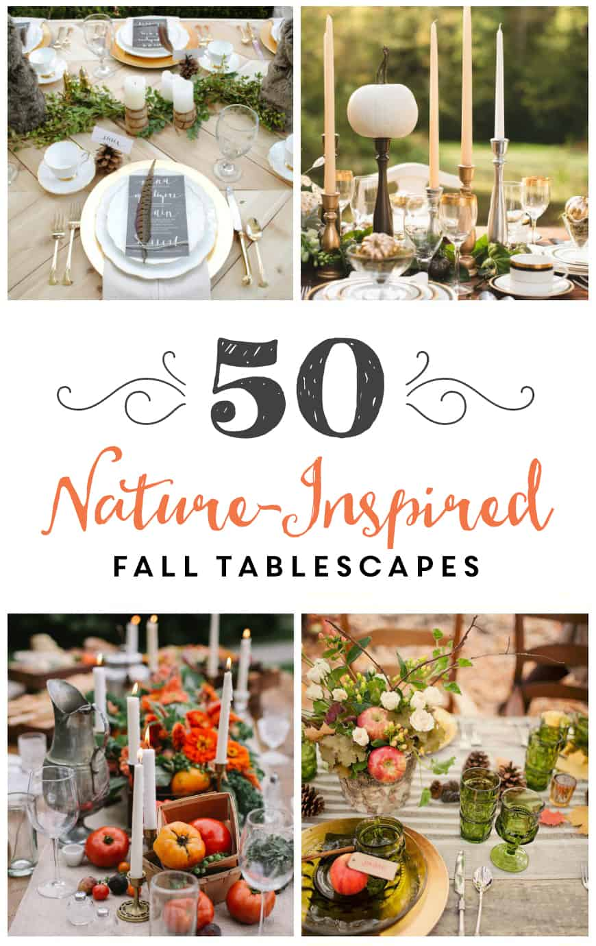 Looking for fall or thanksgiving tablescape ideas? Here are 50 nature inspired tablescapes filled with beautiful rustic elements.