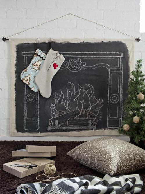 Faux Chalkboard Fireplace via HGTV