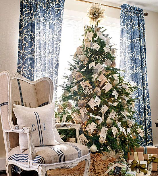 Banner Christmas Tree via BHG