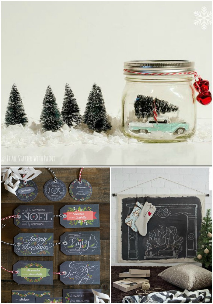 A few of my Christmas related finds from around the web including a mason jar snow globe and free holiday gift tag printables