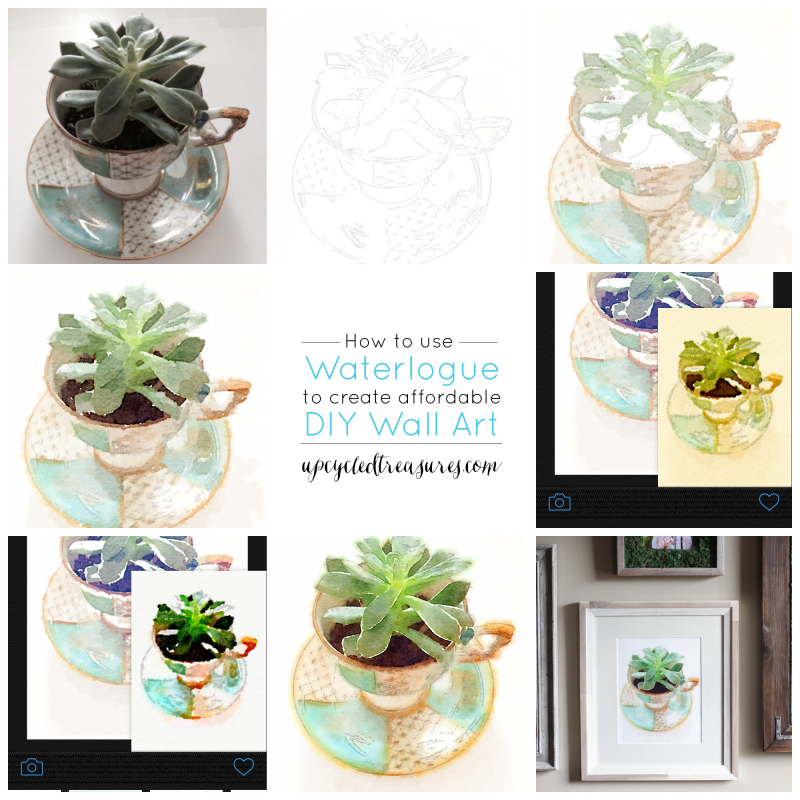 How to Create DIY Wall Art Using Waterlogue - See how you can create super easy wall art using the Waterlogue Phone App! UpcycledTreasures.com