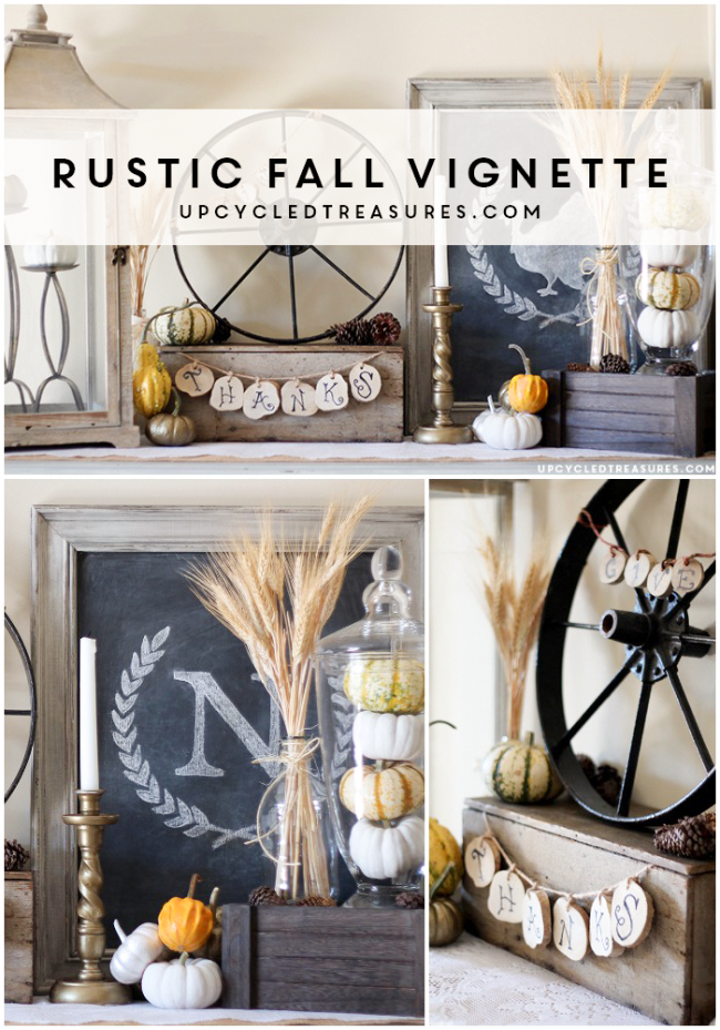 Create a rustic Thanksgiving vignette using thrifted finds and items from nature.