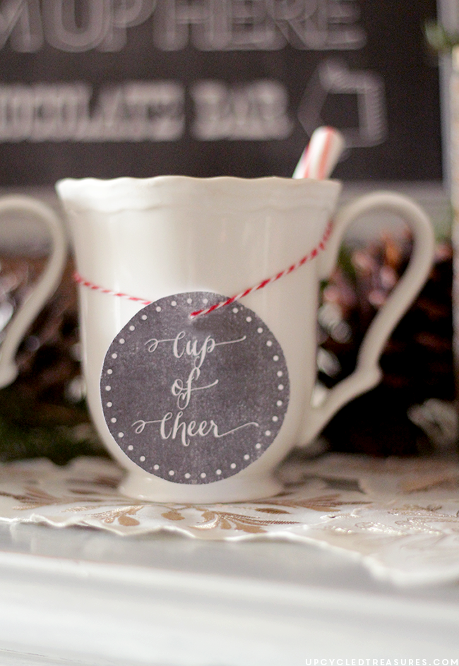"""FREE Hot Chocolate Bar Printable that says """"Baby It's Cold Outside"""". Perfect for holiday parties or weddings! MountainModernLife.com"""