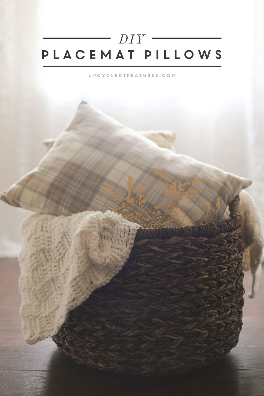 Looking for affordable holiday pillows? See how easy it is to create these no-sew DIY holiday placemat pillows in a matter of minutes! UpcycledTreasures.com
