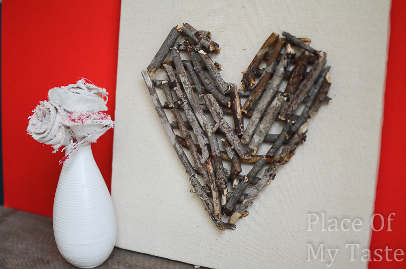 20 Last Minute Valentine Craft Ideas | Stick Heart Wall Art | Place of My Taste