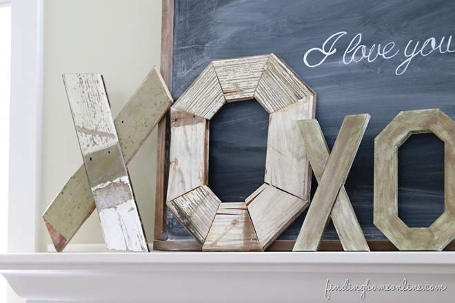 20 Valentine Craft Ideas that you can do last minute | Rustic Wood Valentine Letters | Finding Home Online