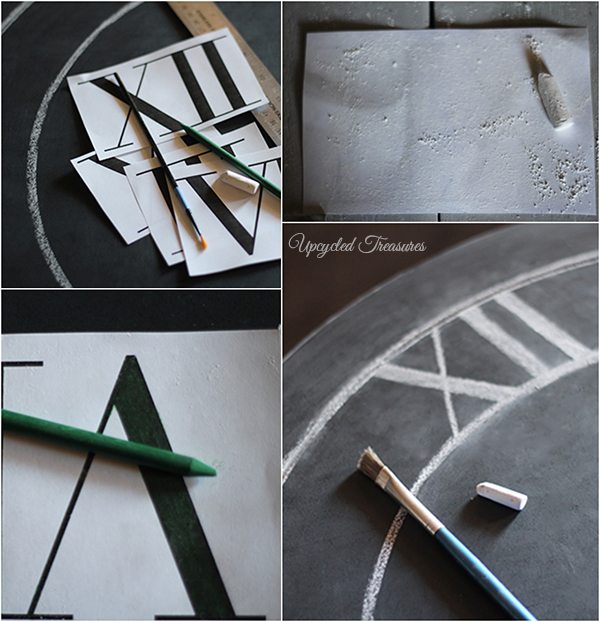 How to Upcycle a Table into a Clock! See how to transform an outdated thrift shop table into something new for a gallery wall! UpcycledTreasures.com