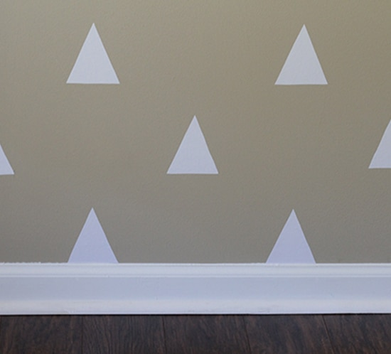 diy white triangle wall using contact paper close up mountainmodernlife.com