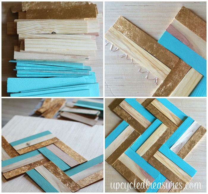 DIY Gilded Wood Shim Wall Art! Learn how easy it is to get your design on by creating your own gilded art using wood shims. UpcycledTreasures.com