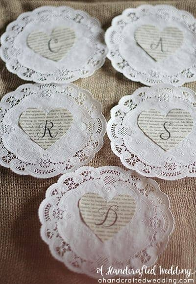 DIY Vintage Inspired Wedding Cards Banner. How to create a book page banner out of paper doilies and book pages. MountainModernLife.com