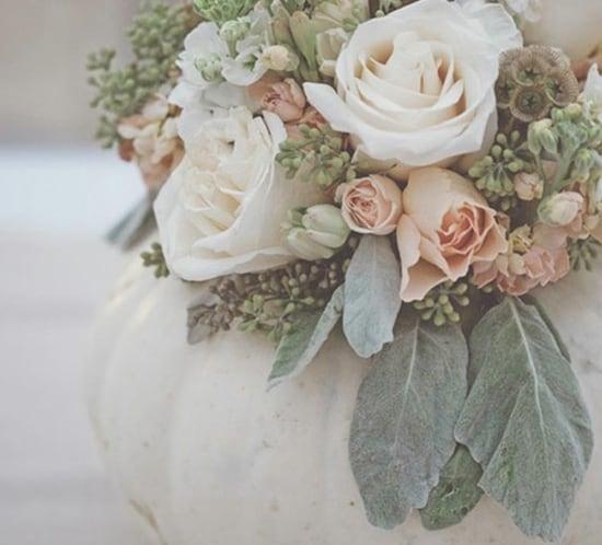 white pumpkin flower centerpiece wedding decor