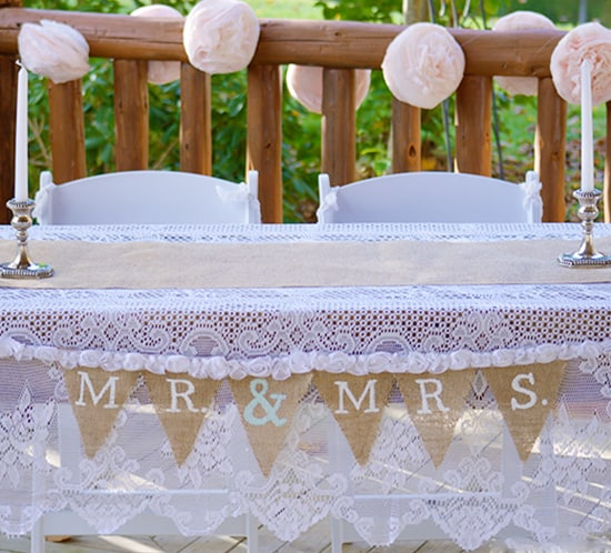 diy burlap mr and mrs wedding banner for sweetheart table mountainmodernlifecom