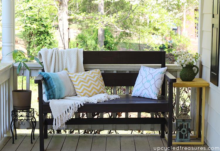 diy-garden-bench-on-porch-placemat-pillows-upcycledtreasures