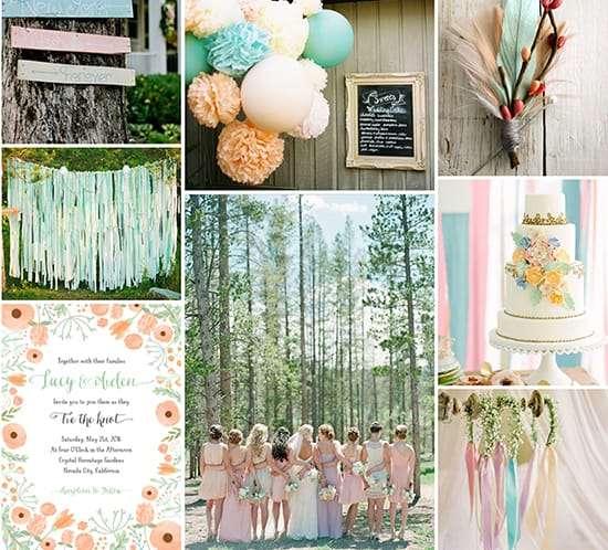 pastel wedding inspiration color board mountainmodernlife.com