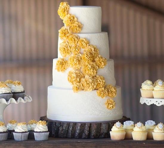 rustic white yellow wedding cake