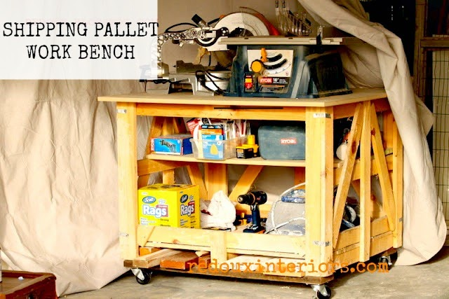 Shipping-Pallet-Turned-Work-Bench-Redouxinteriors-weekend-upcycle-inspiration