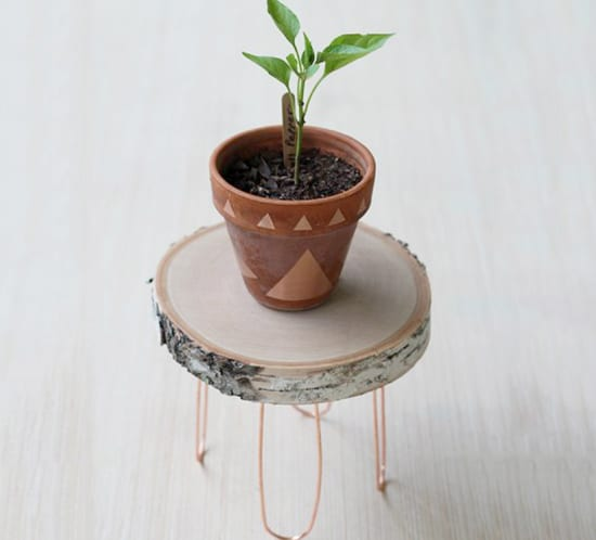 diy modern rustic plant stand copper legs mountainmodernlife