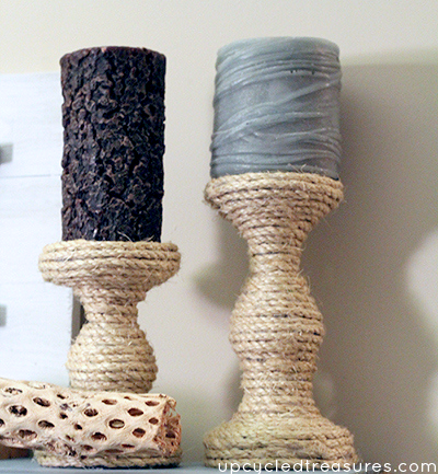Want to update an old candle holder? See how easy it is to create these Turquoise and Gold Pillar Candle Holders! MountainModernLife.com