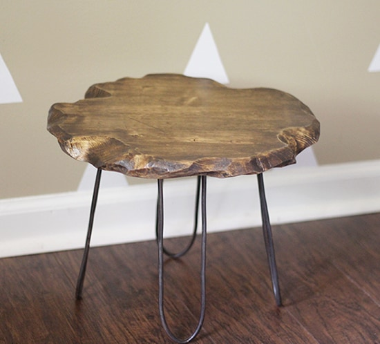 diy small rustic stool with diy hairpin style legs mountainmodernlife.com