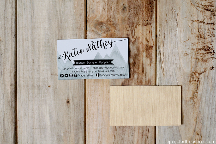 Looking for new business cards? Check out how to make upcycled DIY business cards with contact paper and recycled boxes! upcycledtreasures.com
