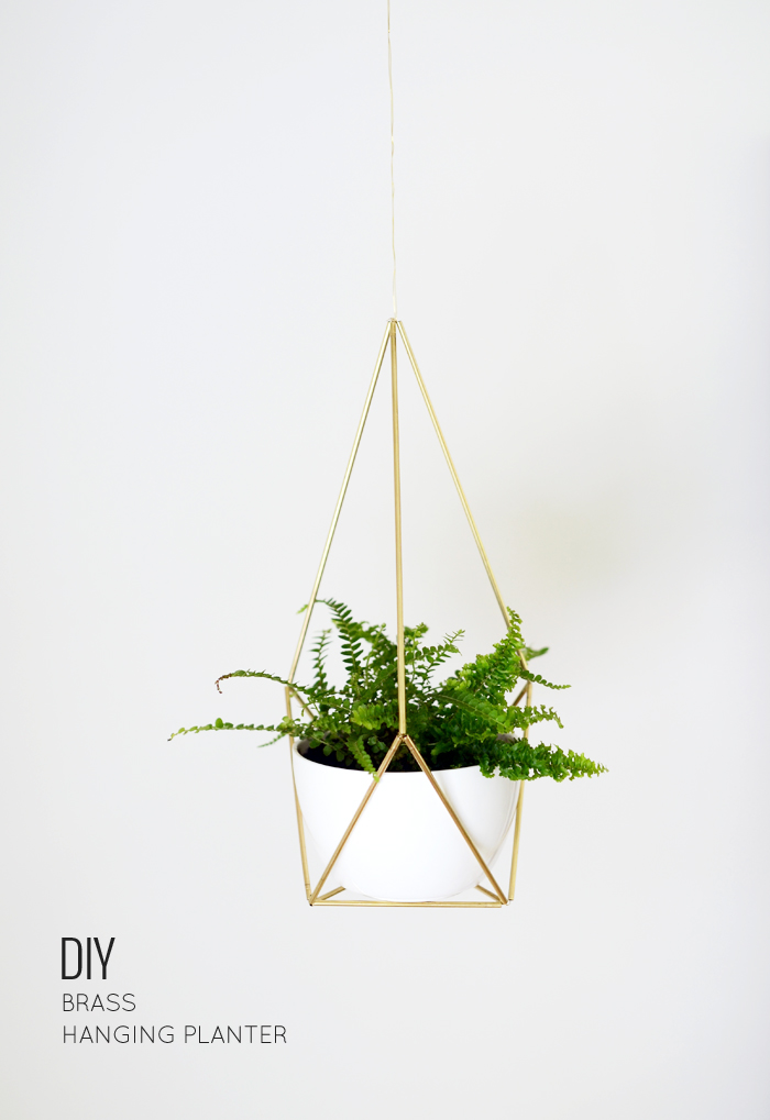 diy brass himmeli hanging planter