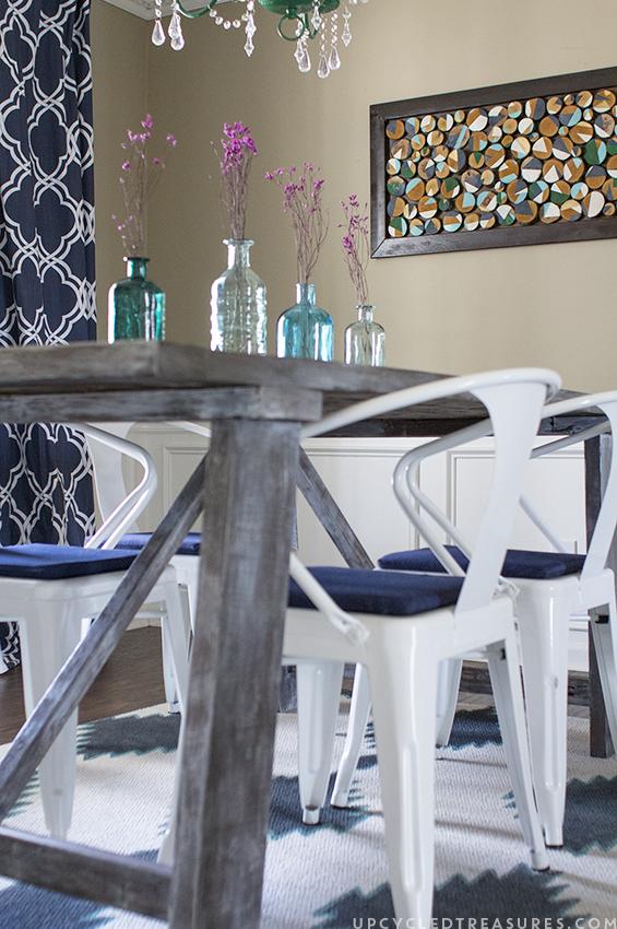 DIY Painted rug in dinning room. MountainModernLife.com