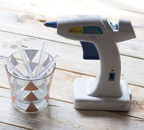 glue gun and gluesticks candle jar