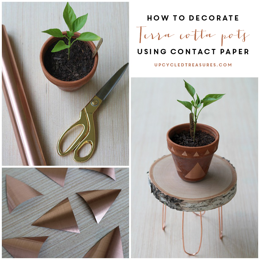 Have those Terra Cotta Pots just lying around? Come check out how to Decorate Terra Cotta Pots using Contact Paper! UpcycledTreasures.com