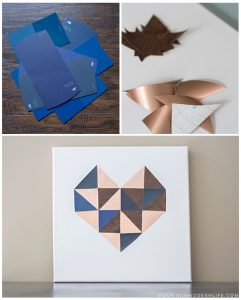 See how easy it is to create this geometric DIY heart wall art, perfect for Valentine's Day!