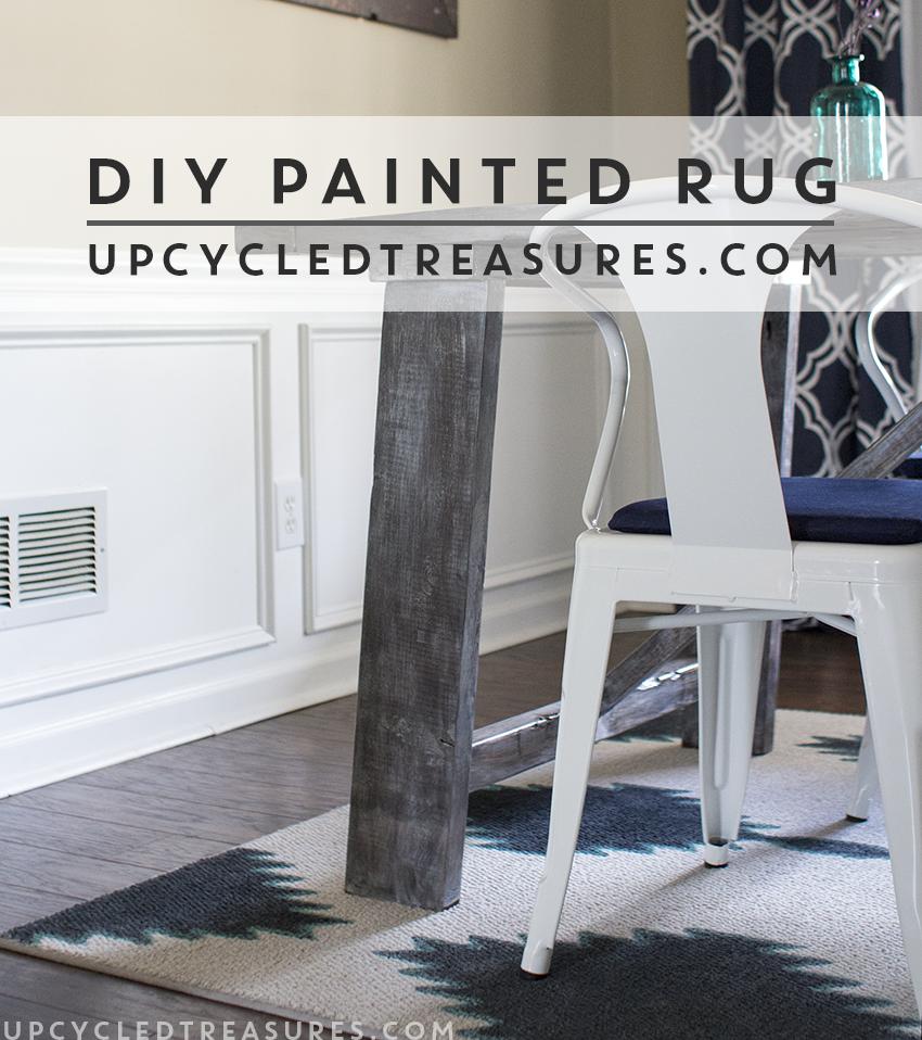 DIY Painted Rug upcycledtreasures.com